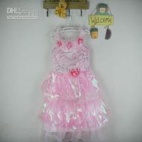 New Arrival Retail discount Flower Girls Dresses Children's Day Dance DressPink Suspender Beaded Lace Dress