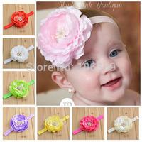 Pink Baby Headband Big Flower Newborn Girl Headband Christening Baptism Hairband Hair Bows Choose Your Color 10pcs HB085