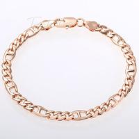 Wholesale 7-11inch Optional 6MM Womens Mens Chain Unisex Boys Girls Ladies Marina Figaro Link Rose Gold Filled GF Bracelet GB321