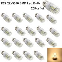 20pcs/lot Most Cheap And High Quality E27 27x5050 SMD Warm White /White LED bulb AC 220V High brightness Led Lighting Corn Bulb
