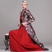 women work wear spring coat elegant flower printed slim x-long super long design plus size xl xxl xxxl overcoat outerwear trench