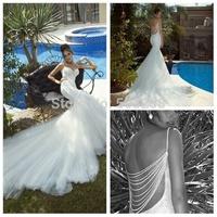 DWD7 2015 New Fashion Mermaid Spaghetti Strap Backless Galia Lahav Beading Wedding Gown