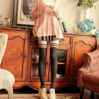 New Womens Opaque Thread Over Knee Thigh Siamese Leggings Elastic Socks