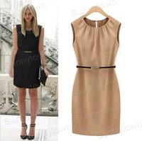 Hot Sale New 2015 spring summer dresses women sleeveless mini casual dress work wear OL office Ladies khaki black