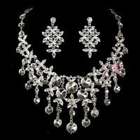 Married necklace the bride set sweet bridal jewelry the bride necklace married rhinestone necklace 2 piece set 05