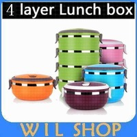 Hot sale Stainless Steel Lunch Box with handle Thermos Food For Container Tableware Dinnerware Sets 4 Layers 2.8L