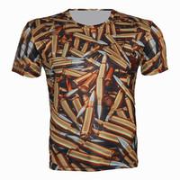 Top Fashion Golden Vintage Harajuku Style Bullet Pattern 3D Printed T Shirt 2015 Summer Men Brand Design Short Sleeve T-Shirt
