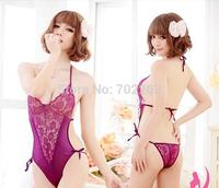 Free shipping sexy lingerie purple women sleepwear lace lingerie