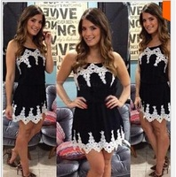 New 2014 Summer Dress Sexy Fashion Women Spaghetti Strap Dress Cute Girl Women White Lace Patchwork Black Dress Vestidos Casual