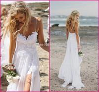 Top Sale Vintage Boho White Beach Low Back Bridal Wedding Dresses Gowns Chiffon Spaghtti Straps Slit Short Lace Women Dress