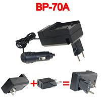 BP-70A BP70A Battery Charger+Car charger+Plug adapter For Samsung ES71 ES73 ES74 PL80 PL81 SL50 ST60 ST61 TL205