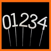 Free Shipping ! 100pcs/lot 5cm height of number rhinestone cake topper for wedding