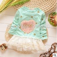 5pcs/Lot Children Dressing Princess Love Heart style Dress For 1-4 Year Baby Kids Girl ,B346