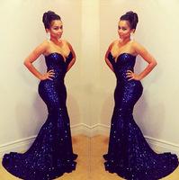 Hot! 2015 Fashion Elegant Sequins Long Evening Dress,Blue Formal Mermaid Dress Women Sexy Backless Vestidos De Renda Maxi Dress
