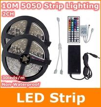 10M rgb Led Strip lights SMD 5050 Non Waterproof DC 12V flexible light COOL white/warm white/blue/green/red/yellow/RGB(China (Mainland))