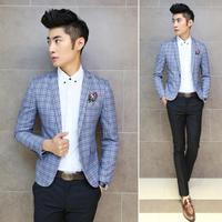 Men Plaid Blazers 2014 New Designer Fashion Elegant Slim Custom Fit casual Business Dress Suit Blazer