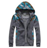 2014 New Autumn Fashion Korean Style Men's Hoodies Patchwork color Plaid zipper Jackets Hooded Coat 3 colors
