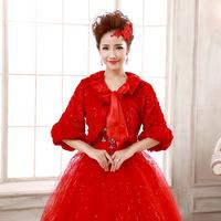 Winter wedding dress bridal hair shawl shawl red white sequined dress sleeve shawl shawl new wholesale