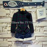 Wholesale 5piece/lot 2015 New Arrival Fashion Clothing Fleece Plaid Long Sleeve T Shirt+Short Denim 2pcs Children Girl Set
