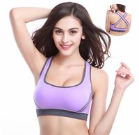 2014 New Women Yoga Athletic Sports Bras Crop Bra Tops Seamless Racerback Padded 5 colors WG#