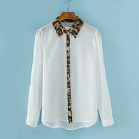 2014 New Promotions Hot Trendy Cozy Women Shirt Wild Slim Fashion Blouse Elegant Cute Long sleeve Leopard Loose Chiffon