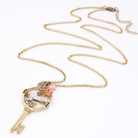 Vintage Jewelry Magpie Key Charm Necklace Long Necklace
