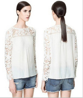 Free Shipping Hot Sale Openwork Crochet Lace Stitching Flowers Women Blouse,Ladies' Chiffon Shirt  S,M,L,XL,XXL  4 Color