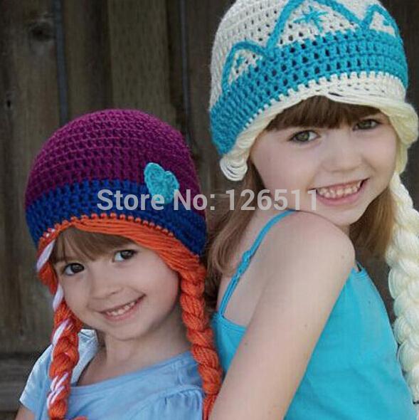 2014 Cute Kids Children Beanie Girl Winter hat Casual Elsa Fashion Cartoon Frozen Knitted Wool Cap Skullies Beanies Hats(China (Mainland))