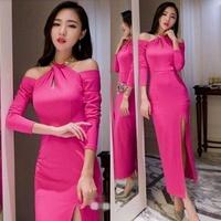2014 sexy halter-neck cutout placketing strapless dress full dress evening dress long-sleeve dress l3277