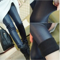 Autumn skinny pants plus velvet thickening leather pants tight trousers female