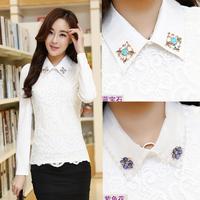 2015 Women's Elegance shirt long-sleeve beading peter pan collar lace t-shirt  slim  top basic shirt 9908