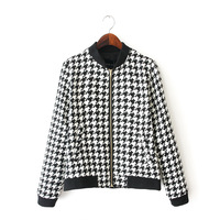 Hot Selling Vintage Swallow Gird Pattern Girl Casual Jackets Long Sleeve Stand Collar Women Cool Coats YS92980