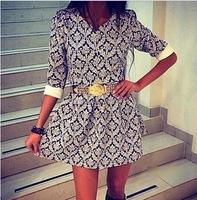 Spring Autumn Women Dress, 2015 New Office Lady Cotton Dress, Brand Three Quarter Sleeve V Neck Dresses
