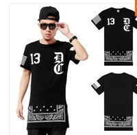 WOW Exclusive sale, 2014 men`s lengthen t-shirts fashion side zipper design short sleeve casual brand ktz dress tops tee