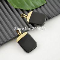 10pcs Gold Plated Healing Chakra Black Agate Stone Pendulum Bead Pendant Charms Fit Necklace