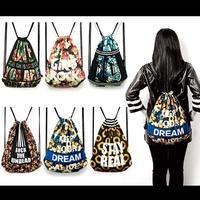 Free Shipping 4 designs Harajuku full body flower printing retro casual drawstring backpack beam port should bag
