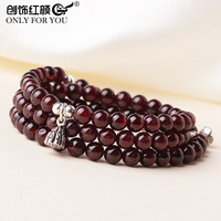 Fashion Design Three Layer Natural Garnet and S925 Silver Lotus and Fish Bracelet