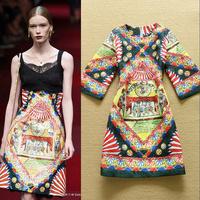 Best Grade 2015 New Fashion Vintage Print Jacquard Cotton Casual Dress Party Club Wear  F16656