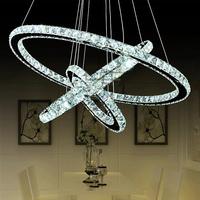 Stainless steel 3 Circles 45W LED K9 Crystal Chandelier Hot sale Diamond Ring Modern Pendant Lamp