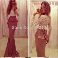 Big Bow Luxury Lace Dress Evening Gowns New Celebrity Women Long Maxi Dress Hot Sale