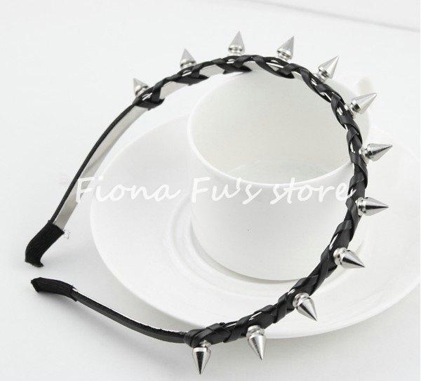 Pop Fashion Bow Leather Twine Braid Spike Rivets Studded Headband Hair Band Party Punk Goth black FF1209-09(China (Mainland))