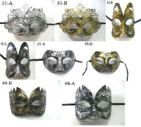 (100 pcs/lot) New Arrival Hot Sale Half-face Gold & Silver Color Old-fashioned Plastic Venetian Masquerade Ball Masks
