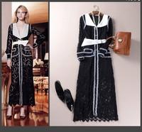 2015 New Spring fashion black and white color block dress vintage long sleeve lace dress slim black maxi dress