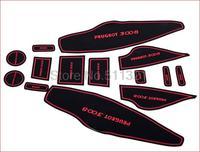 14pcs Non-slip auto Interior Door Mats Pads Gate Slot Mat Cushion Pad Cup Mat fit for 2013 Peugeot 3008