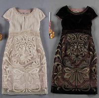 S-XXL 2015 runway Brand Fashion O neck short sleeve embroidery patchwork sexy slim plus size one piece dress 312210