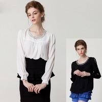 2015 Fashion spring summer OL ladies' long sleeve chiffon blouse O-neck beading loose top shirt women's work blouses