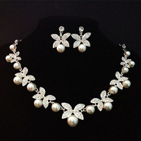 Big Promotion flower Rhinestone crystal Pearl Bride Women Party Prom Silver Plated necklace earring Bridal Wedding jewelry set