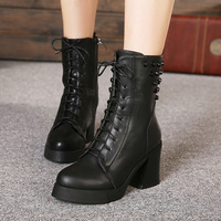 2014 new fashion retro stitching banquet wedding party wear and stereotypes bottom rivet buckle thick high-heeled boots Martin