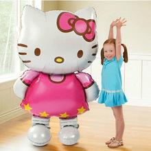 Nueva gran tamaño gato Hello Kitty globo foil cumpleaños dibujos animados decoración del banquete de boda Must Haves aire inflable juguetes clásicos(China (Mainland))
