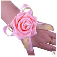 (12 pcs/lot ) wholesale pink rose bride flowers resin simulation wrist flowers wedding decoration
